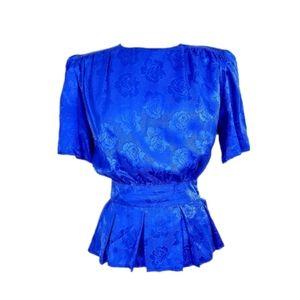 Vintage 80s Argenti Blue Floral Silk Godet Blouse